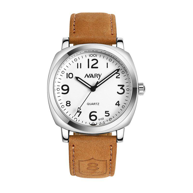 NARY 6122 4751 Fashion Big Dial Leather Band Quartz Men Watch with BoxJEWELRY<br><br>Color: WHITE; Brand: NARY; Watches categories: Men; Watch style: Business,Casual,Fashion;