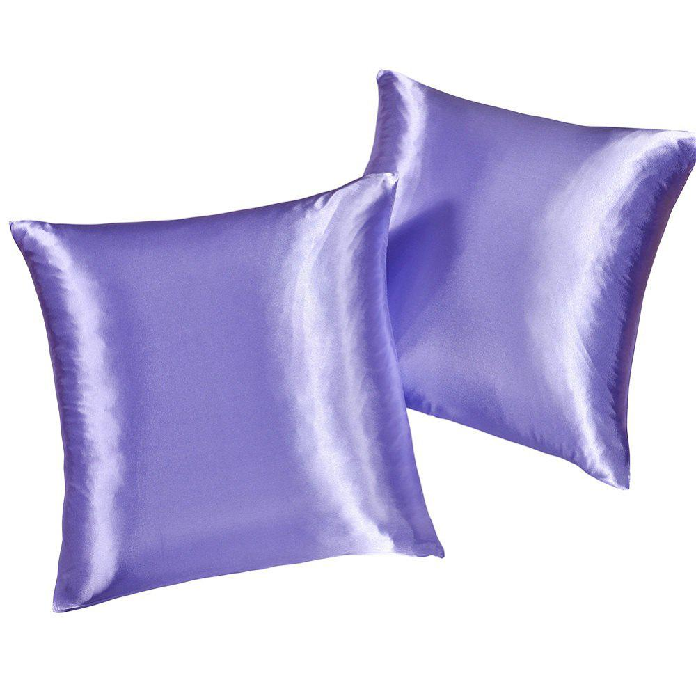 Fake Silk Invisible Zipper Pillowcase 2PCSHOME<br><br>Size: TWIN; Color: PURPLE; Category: Pillow Case; Material: Mulberry Silk; For: All; Occasion: Bedroom;