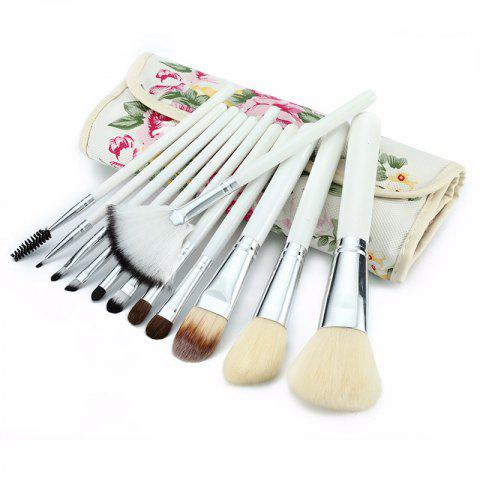 Hot TODO 12pcs Peony Pattern Case Makeup Brushes Set with Cosmetic Bag