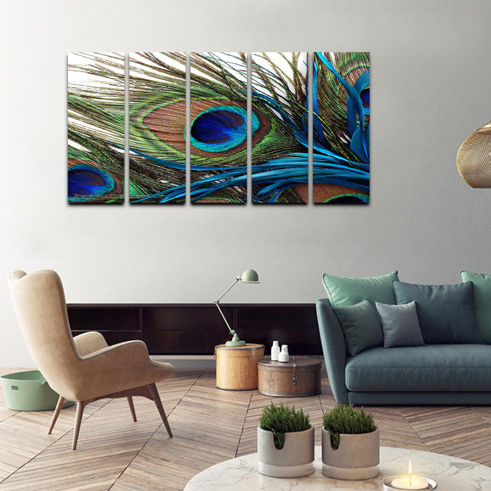 New YHHP Canvas Print Peacock Feathers Wall Decor For Home Decoration 5PCS