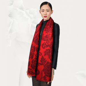 New Design Chinese Style Autumn Winter Unisex Red Silk Scarf for Couples -