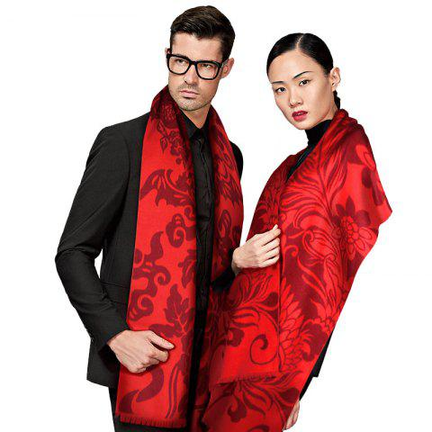 Outfits New Design Chinese Style Autumn Winter Unisex Red Silk Scarf for Couples
