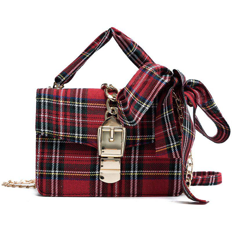 Simple Casual Fashion Plaid Fabric Messenger Bag for WomenSHOES &amp; BAGS<br><br>Color: RED;