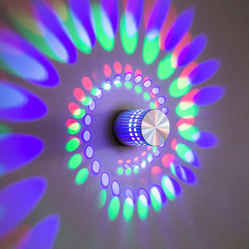 LED Wall Lamp Corridor Background KTV Bar Light AC 85V - 265VHOME<br><br>Color: COLORFUL; Type: Wall Sconces; Style: Modern,Novelty,Simple; Voltage: 85V - 265V AC; Light Source Color: Blue,Ice Blue,RGB,White,Yellow; Wattage: 3W; Light Direction: Ambient Light; Finish: Aluminum; Suggested Room Size: 0 - 50 Square Meters;