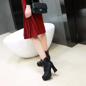 Women's Shoes Platform Combat Boots Chunky Heel Round Toe Mid-Calf Boots Rivet Lace-up -
