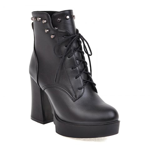 Buy Women's Shoes Platform Combat Boots Chunky Heel Round Toe Mid-Calf Boots Rivet Lace-up