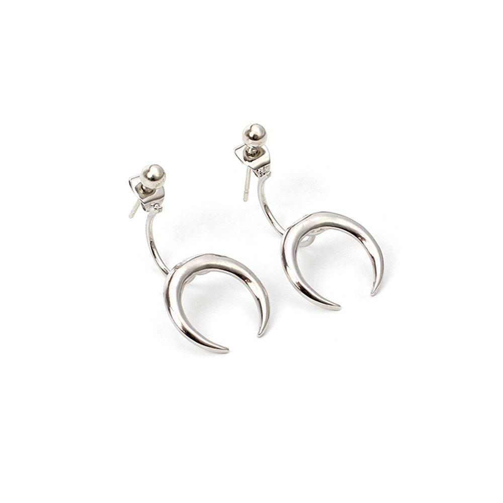 Fashion Personalized Metal Crescent Horns EarringsJEWELRY<br><br>Size: 1 PAIR; Color: SILVER;
