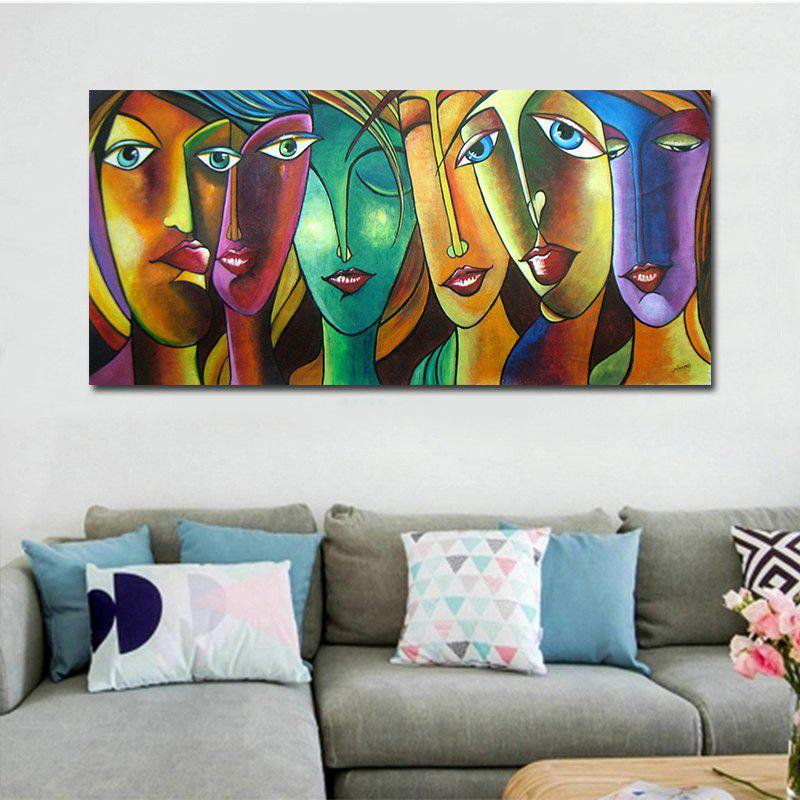 Abstrct Human Face Print Canvas Modern Wall Art DecorHOME<br><br>Size: 50 X 100CM; Color: COLORFUL; Material: Canvas; Shape: Horizontal; Craft: Print; Form: One Panel; Painting: Without Inner Frame; Subjects: Abstract; Style: Modern Style; Suitable Space: Bedroom,Dining Room,Hotel,Living Room,Office,Study Room / Office;