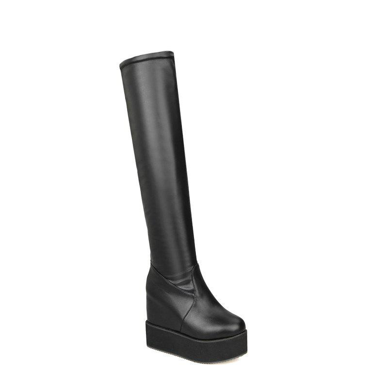 Muffin Thick Bottom Increased Student Stovepipe Boots SQM#710SHOES &amp; BAGS<br><br>Size: 37; Color: BLACK;