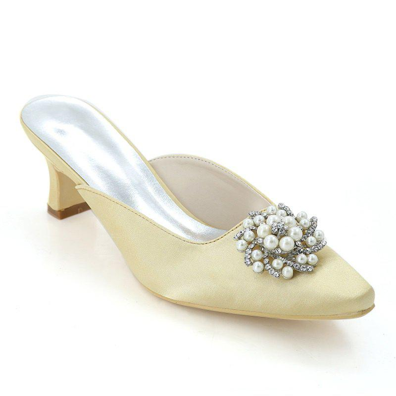 Shop Coarse Women's Shoes with High Heels Square Wedding Slippers