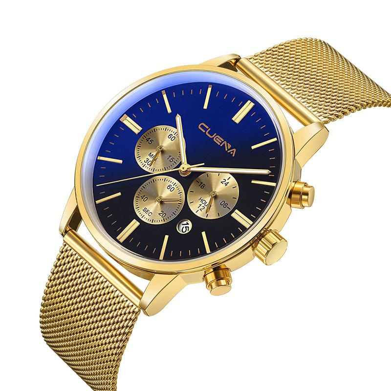 CUENA 6813G Men Multifunctional Alloy Case Quartz Watch with Stainless Steel BandJEWELRY<br><br>Color: GOLD BLACK; Brand: CUENA; Watches categories: Male table,Men; Watch style: Casual,Cool,Fashion,Outdoor Sports,Retro,Trends in outdoor sports;