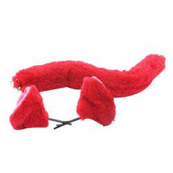 Cosplay Set Red Ears Queue Clip de cheveux en peluche Costumes Accessoires -