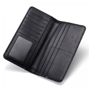 HAUT TON Men's Vintage Leather Wallet Long Slim Bifold Boy Card Holder -