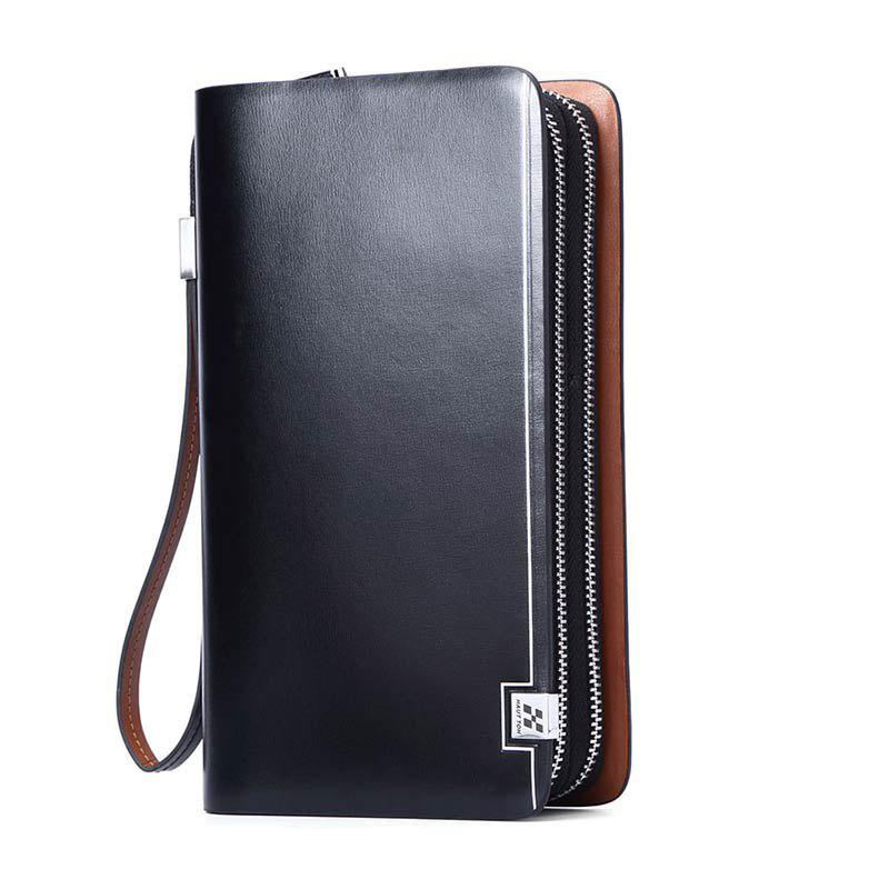 Fashion HAUTTON Mens Genuine Leather Double Zipper Clutch Bag Handbag Organizer Checkbook Wallet