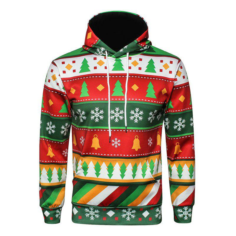 Original Color Christmas Tree Hooded Loose HoodieMEN<br><br>Size: 2XL; Color: COLORFUL;