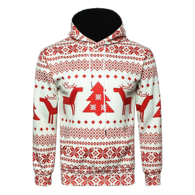 Christmas  Digital Print Pullover HoodieMEN<br><br>Size: 3XL; Color: RED; Material: Polyester; Shirt Length: Regular; Sleeve Length: Full; Style: Casual; Weight: 0.3000kg; Package Contents: 1 x Hoodie;