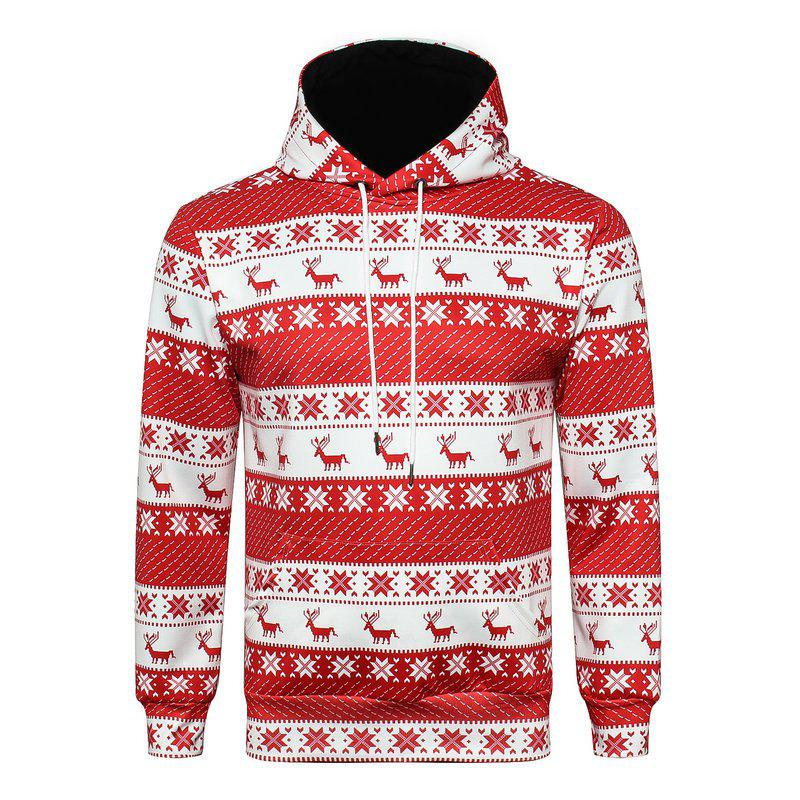 christmas digital print long sleeves loose hoodie