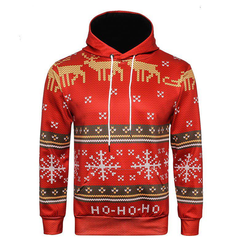 Christmas 3D Printed HoodieMEN<br><br>Size: XL; Color: RED;
