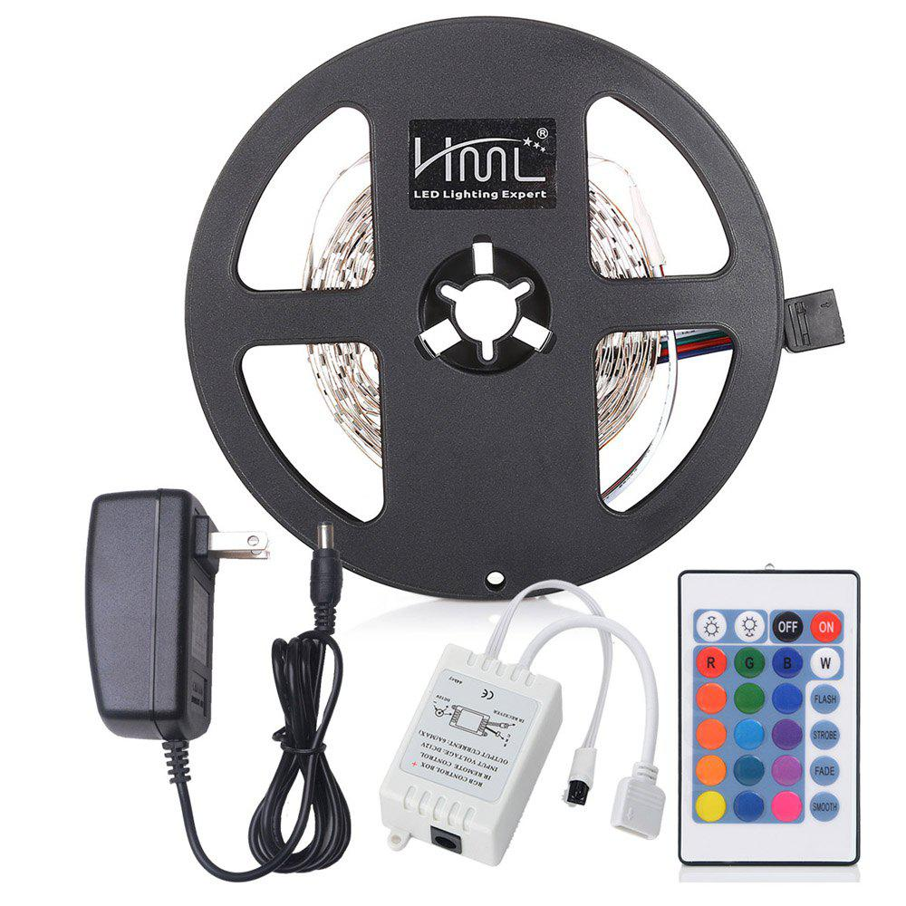 HML LED Strip Light 5M 24W RGB SMD2835 300 LEDs with IR 24 Keys Remote Control DC AdapterHOME<br><br>Color: RGB COLOR; Plug Type: US plug; Type: Flexible LED Light Strips,LED Strip Light,RGB Strip Lights; Light Source Color: RGB; Length ( m ): 5; Light color: RGB; Wattage (W): 24; Voltage: 100 - 240V; Power Supply: 100-240V; Features: Color-changing,Cuttable,Festival Lighting,Linkable,Self-Adhesive,with Remote Control; Certifications: CE,FCC,RoHs; Light Source: 2835 SMD,LED; Beam Angle: 180; LED Quantity: 300; Bulb Included: Yes; Color Temperature or Wavelength: 460nm; 530nm; 635nm;