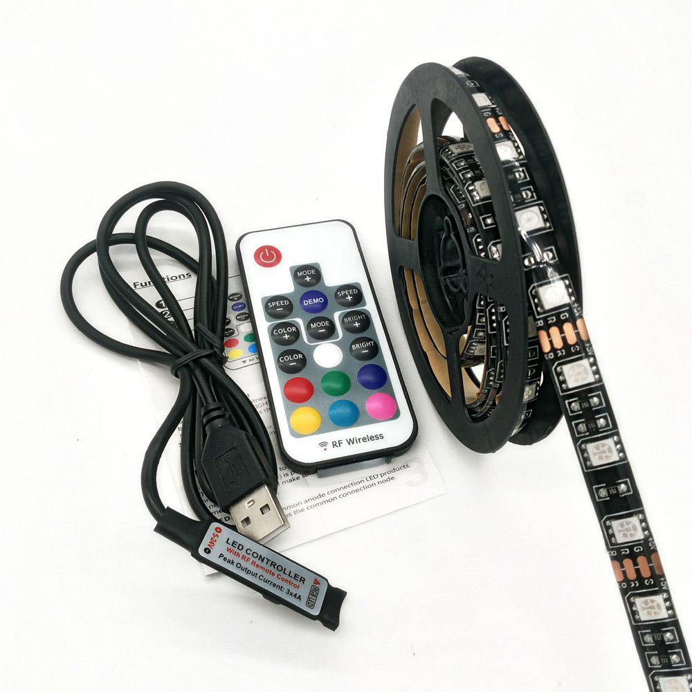 ZDM 5V 15 - 30W 5050 100 / 200CM USB Waterproof RGB LED Light Strip with 17 Key IR Controller DC 5VHOME<br><br>Size: 100CM; Color: BLACK; Brand: ZDM; Type: RGB Strip Lights,Waterproof; Light Source Color: RGB; Length ( m ): 1; Light color: RGB; Wattage (W): 15; Voltage: DC 5V; Power Supply: USB; Features: Color-changing,Festival Lighting,with Remote Control; Width( mm ): 10; Waterproof Rate: IP65; Mode: Waterproof; Light Source: 5050 SMD,LED; Beam Angle: 120; LED Quantity: 60 - 120; Color Temperature or Wavelength: RGB;