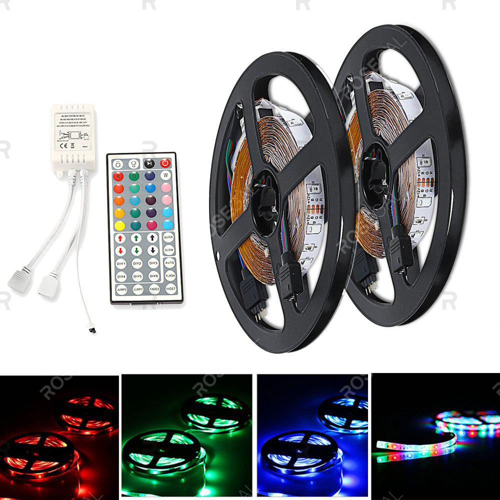 ZDM DC12V 2835 300LEDs RGB Strips with IR44 Key Double Outlet Controller 2PCSHOME<br><br>Color: RGB; Brand: ZDM; Type: Flexible LED Light Strips,RGB Strip Lights; Length ( m ): 10; Light color: RGB; Wattage (W): 30W; Voltage: AC12V; Features: Color-changing,Festival Lighting,Linkable,with Remote Control; Width( mm ): 8mm; Waterproof Rate: IP20; Light Source: 2835 SMD,LED; Beam Angle: 120; Initial Lumens ( lm ): 6000LM; LED Quantity: 300 - 600; Color Temperature or Wavelength: Blue 465 - 475nm,  Green 515 - 525nm,  Red 635 - 640nm;