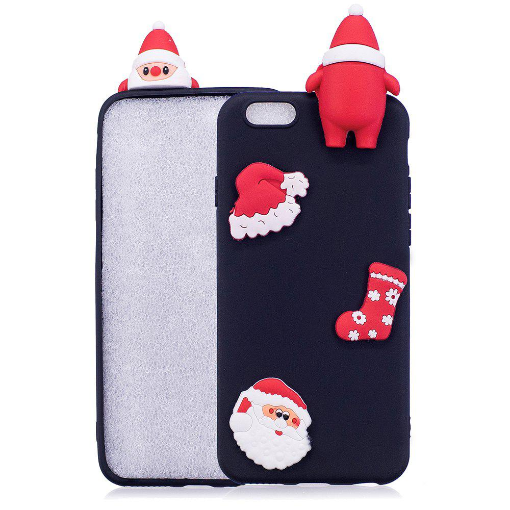 Christmas Hat Tree Santa Claus Reindeer 3D Cartoon Animals Soft Silicone TPU Case for iPhone 6 Plus / 6S PlusHOME<br><br>Color: BLACK; Features: Anti-knock; Material: TPU; Style: 3D Print;