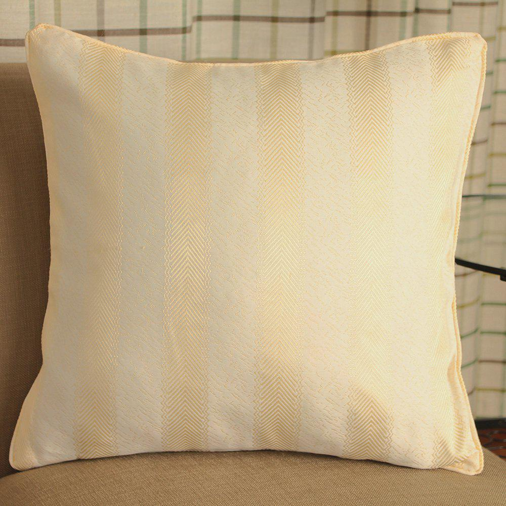 European Style Simple Striped Jacquard PillowcaseHOME<br><br>Color: LIGHT YELLOW; Material: 100 Percent Polyester; Features: Neck Protecting; Outer Cover Fabric: 100 Percent Polyester; Shape: Rectangle;
