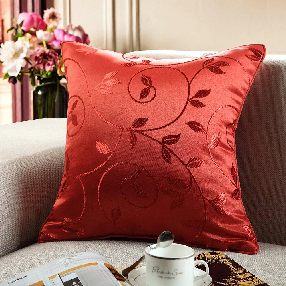European Style Simple Style Lobular Flower Jacquard PillowcaseHOME<br><br>Size: 18X18INCH; Color: RED; Material: 100 Percent Polyester; Features: Neck Protecting; Outer Cover Fabric: 100 Percent Polyester; Shape: Rectangle;