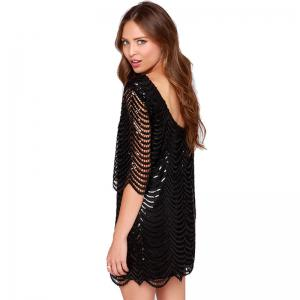 Robe col rond à col rond pour femmes sexy -