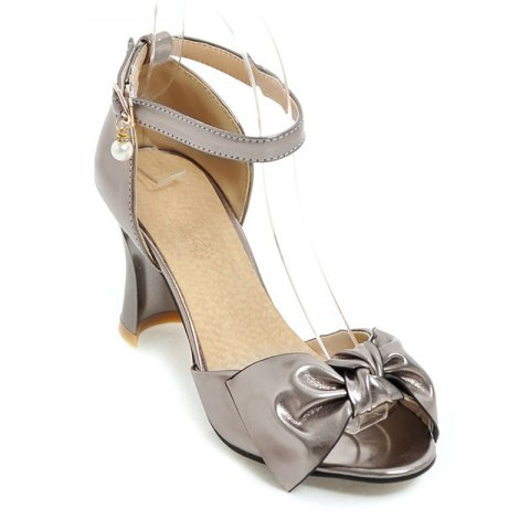 Store Women's Sandals Two-Piece Summer Wedding Party Imitation Pearl Hollow-out Chunky Heel