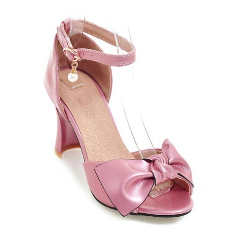 Chic Women's Sandals Two-Piece Summer Wedding Party Imitation Pearl Hollow-out Chunky Heel