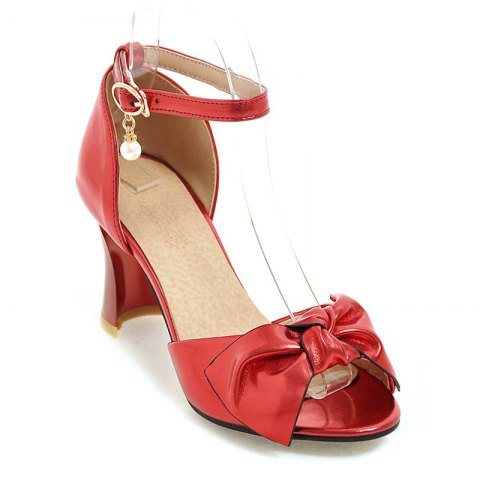 Fancy Women's Sandals Two-Piece Summer Wedding Party Imitation Pearl Hollow-out Chunky Heel