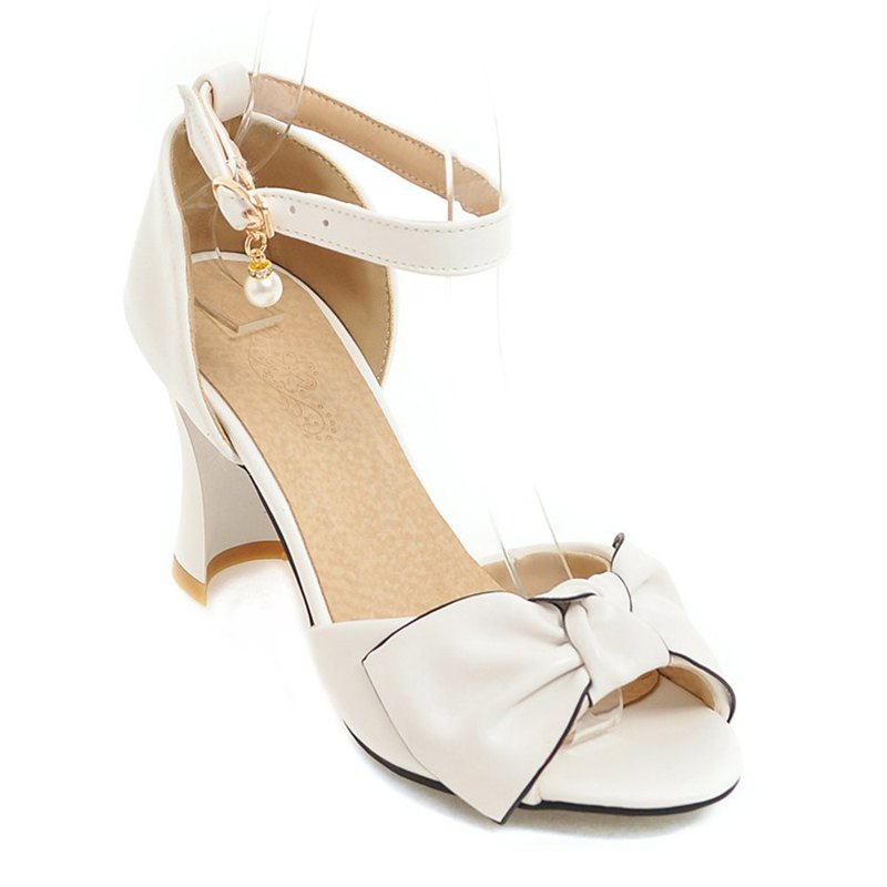 New Women's Sandals Two-Piece Summer Wedding Party Imitation Pearl Hollow-out Chunky Heel