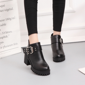 YYO11 Women Fashion PU Casual Ankle Boots Waterproof Sexy High Heel Martin Boot with Zipper -