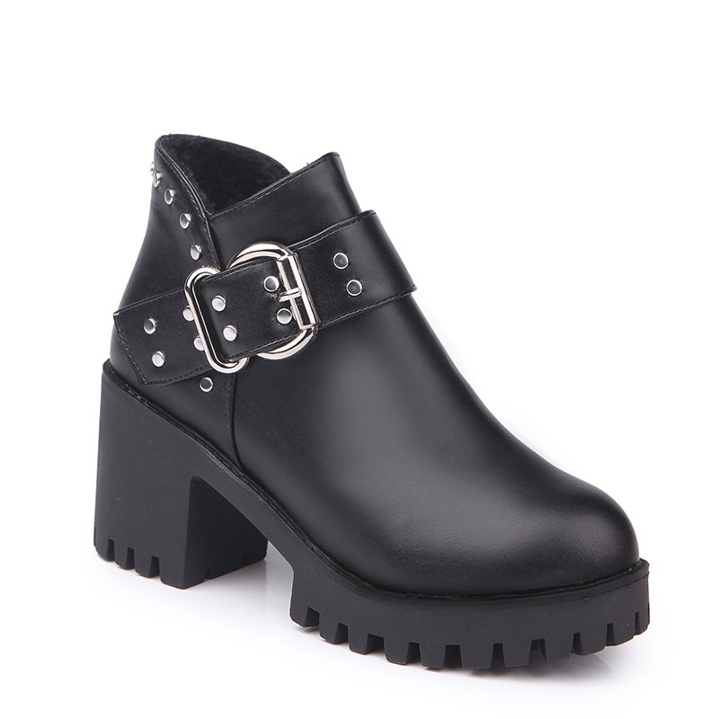 YYO11 Women Fashion PU Casual Ankle Boots Waterproof Sexy High Heel Martin Boot with ZipperSHOES &amp; BAGS<br><br>Size: 39; Color: BLACK;