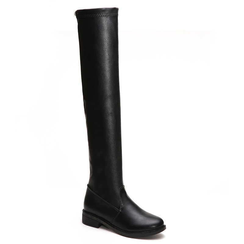 YYO13 Women Fashion Sexy Over Knee PU Boots Low Heel Waterpoof Simple StyleSHOES &amp; BAGS<br><br>Size: 39; Color: BLACK;
