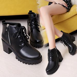 YYO15 Women Fashion Ankle PU Martin Boots Waterproof Block Thick High Heel with Zipper Shoes -