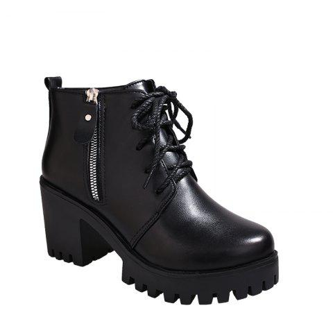 Online YYO15 Women Fashion Ankle PU Martin Boots Waterproof Block Thick High Heel with Zipper Shoes