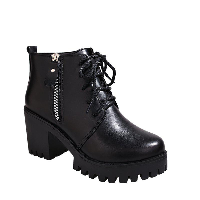 New YYO15 Women Fashion Ankle PU Martin Boots Waterproof Block Thick High Heel with Zipper Shoes