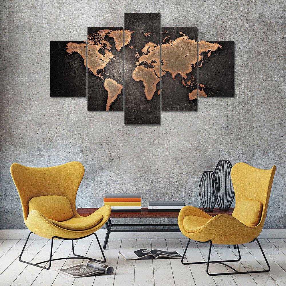 Brown World Map Canvas Print Home Decoration Wall Art Picture 5PCSHOME<br><br>Color: COLORMIX; Material: Canvas; Shape: Vertical; Craft: Print; Form: Five Panels; Painting: Without Inner Frame; Subjects: Still Life; Style: Others; Suitable Space: Bedroom,Dining Room,Kids Room,Living Room,Office,Study Room / Office;