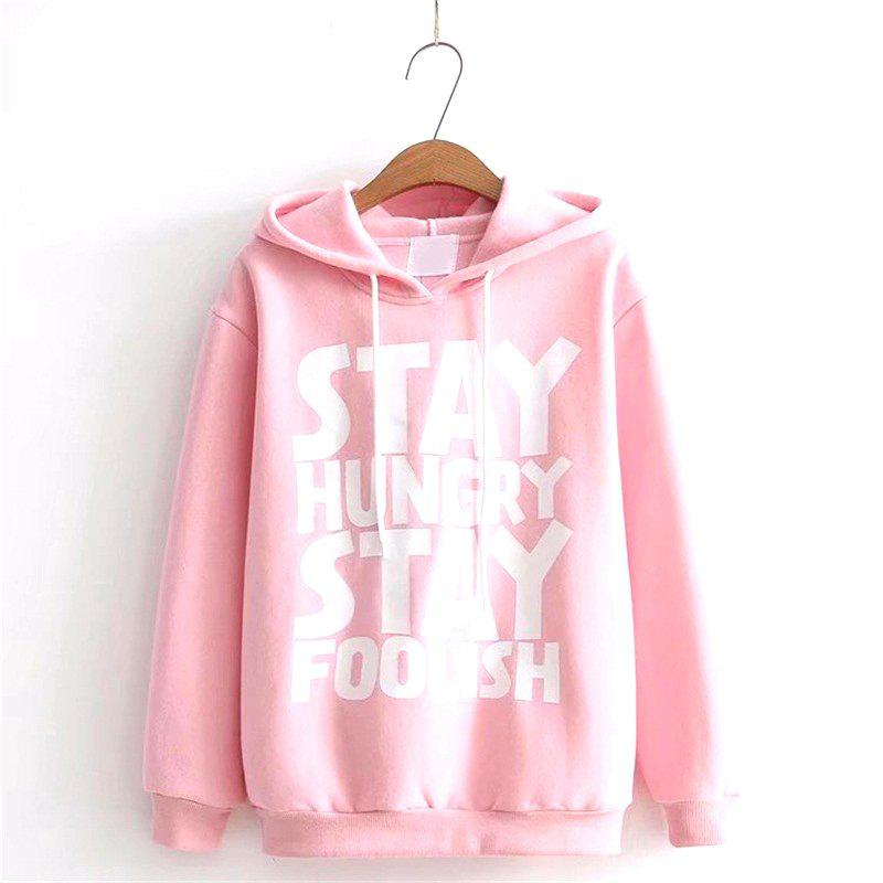 Fashion Print Letters Stay A HoodieWOMEN<br><br>Size: ONE SIZE; Color: PINK;