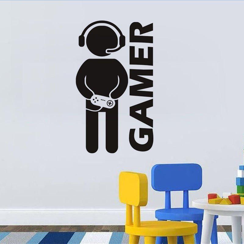 DSU Video Game Wall Sticker Vinyl Art Mural for Home Decoration Art Bedroom Poster Paper DecorHOME<br><br>Color: BLACK; Brand: DSU; Type: 3D Wall Sticker,Plane Wall Sticker; Subjects: Others,People; Function: 3D Effect,Decorative Wall Sticker,Fridge Sticker; Material: Vinyl(PVC); Suitable Space: Boys Room,Game Room,Hotel,Kids Room,Kids Room; Quantity: 1;