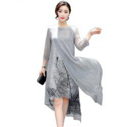 Round Neck Fake Two Pieces Print Silk Chiffon Asymmetrical A Line Dress -