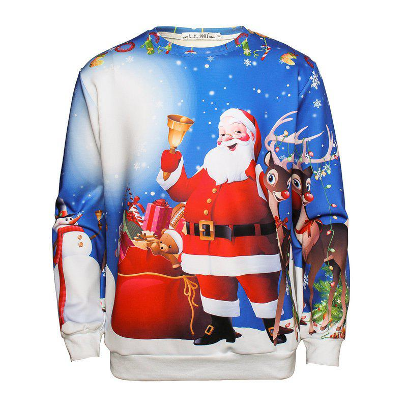 Christmas Santa Claus Long-sleeved SweatshirtMEN<br><br>Size: XL; Color: BLUE;