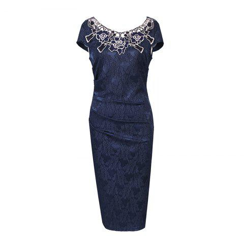 Latest European Foreign Trade Station Hot Sale Short Sleeve Lace O Neck Pencil Party Dress