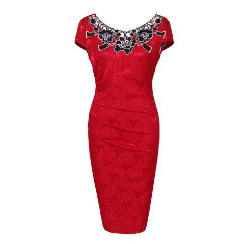 Online European Foreign Trade Station Hot Sale Short Sleeve Lace O Neck Pencil Party Dress