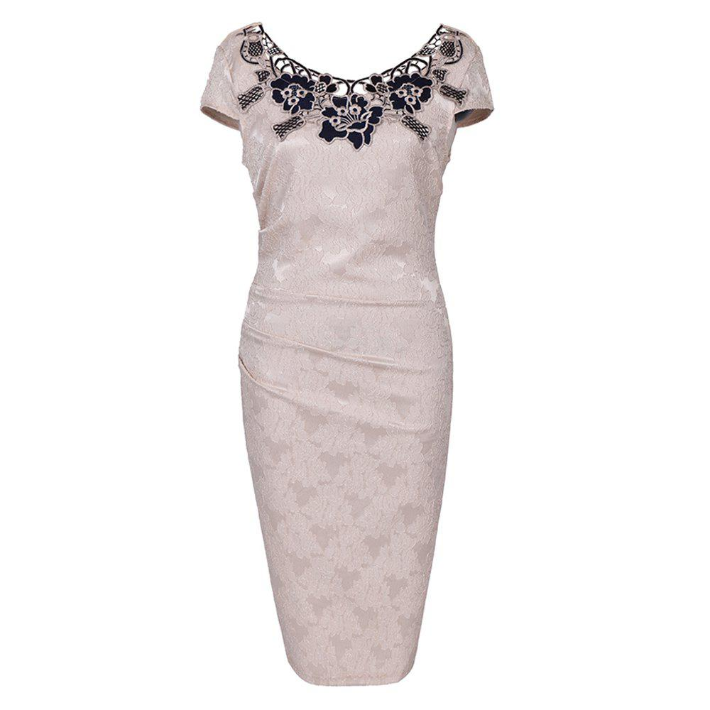 Store European Foreign Trade Station Hot Sale Short Sleeve Lace O Neck Pencil Party Dress