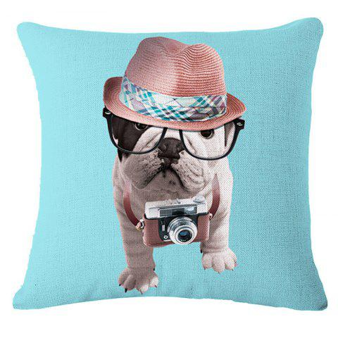 Discount Cute Bulldog Cotton and Linen Household Pillowcase