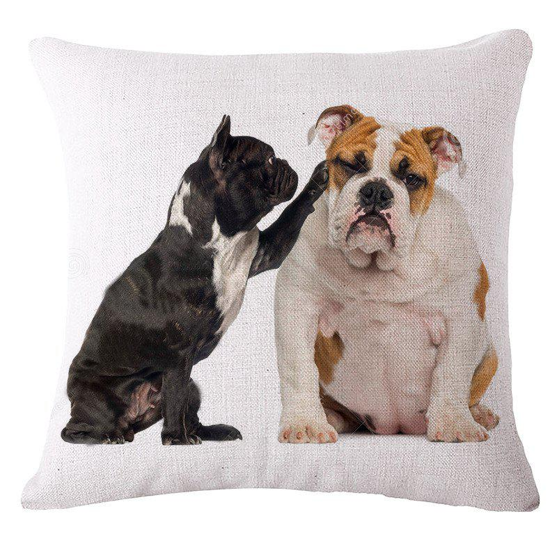 Cute Bulldog Prints Cotton and Linen Pillowcase SofaHOME<br><br>Color: WHITE;