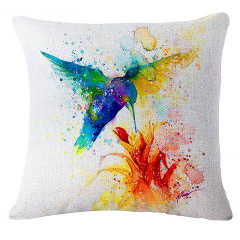 Cheap Creative Bird Printed Linen Pillow Cover